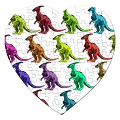 Multicolor Dinosaur Background Jigsaw Puzzle (heart)