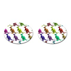 Multicolor Dinosaur Background Cufflinks (Oval)