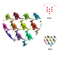 Multicolor Dinosaur Background Playing Cards (heart)
