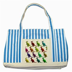 Multicolor Dinosaur Background Striped Blue Tote Bag