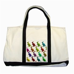 Multicolor Dinosaur Background Two Tone Tote Bag