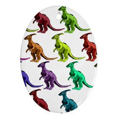 Multicolor Dinosaur Background Oval Ornament (two Sides)
