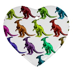 Multicolor Dinosaur Background Heart Ornament (two Sides)