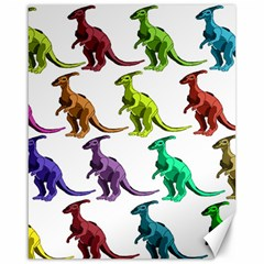 Multicolor Dinosaur Background Canvas 16  x 20