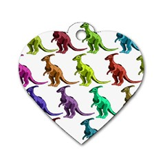 Multicolor Dinosaur Background Dog Tag Heart (Two Sides)