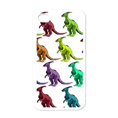 Multicolor Dinosaur Background Apple Iphone 4 Case (white)