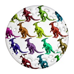 Multicolor Dinosaur Background Round Filigree Ornament (two Sides)