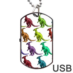 Multicolor Dinosaur Background Dog Tag Usb Flash (one Side)
