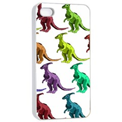 Multicolor Dinosaur Background Apple Iphone 4/4s Seamless Case (white)