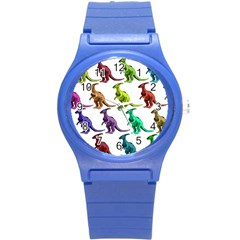 Multicolor Dinosaur Background Round Plastic Sport Watch (s)