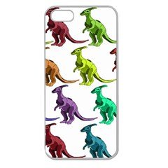 Multicolor Dinosaur Background Apple Seamless Iphone 5 Case (clear)