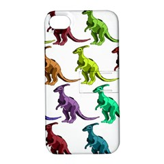 Multicolor Dinosaur Background Apple Iphone 4/4s Hardshell Case With Stand