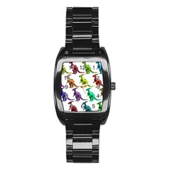Multicolor Dinosaur Background Stainless Steel Barrel Watch