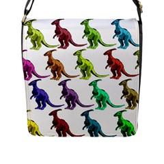 Multicolor Dinosaur Background Flap Messenger Bag (l)