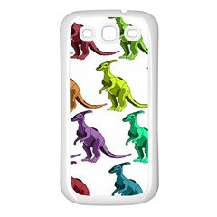Multicolor Dinosaur Background Samsung Galaxy S3 Back Case (white)
