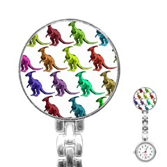 Multicolor Dinosaur Background Stainless Steel Nurses Watch