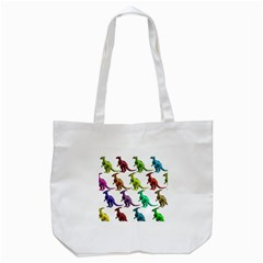Multicolor Dinosaur Background Tote Bag (white)