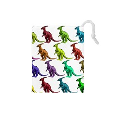 Multicolor Dinosaur Background Drawstring Pouches (small)