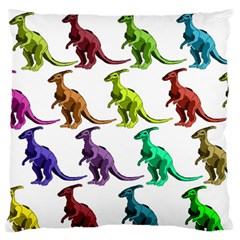 Multicolor Dinosaur Background Large Flano Cushion Case (Two Sides)