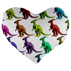Multicolor Dinosaur Background Large 19  Premium Flano Heart Shape Cushions