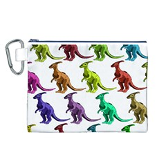 Multicolor Dinosaur Background Canvas Cosmetic Bag (l)