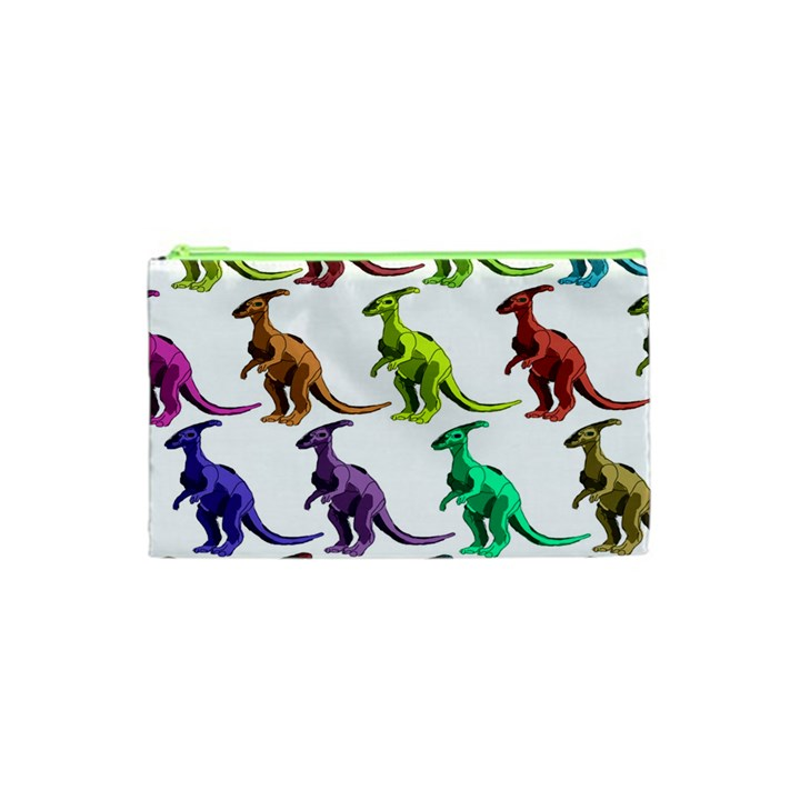Multicolor Dinosaur Background Cosmetic Bag (XS)