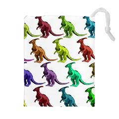 Multicolor Dinosaur Background Drawstring Pouches (Extra Large)