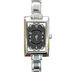 Black Lace Kaleidoscope On White Rectangle Italian Charm Watch
