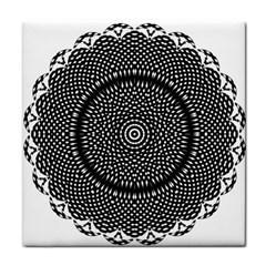 Black Lace Kaleidoscope On White Tile Coasters