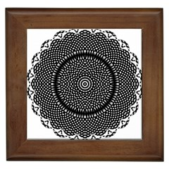 Black Lace Kaleidoscope On White Framed Tiles