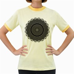 Black Lace Kaleidoscope On White Women s Fitted Ringer T-Shirts