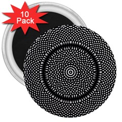 Black Lace Kaleidoscope On White 3  Magnets (10 Pack)