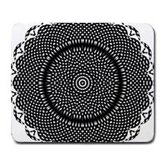 Black Lace Kaleidoscope On White Large Mousepads