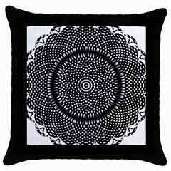 Black Lace Kaleidoscope On White Throw Pillow Case (black)
