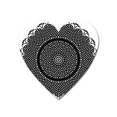 Black Lace Kaleidoscope On White Heart Magnet