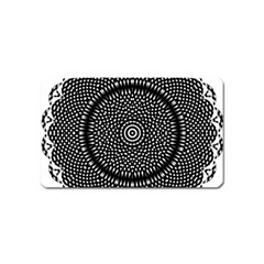 Black Lace Kaleidoscope On White Magnet (Name Card)