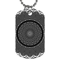 Black Lace Kaleidoscope On White Dog Tag (one Side)