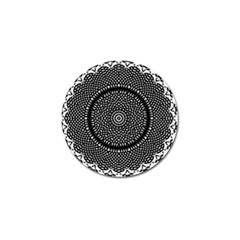 Black Lace Kaleidoscope On White Golf Ball Marker