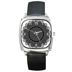 Black Lace Kaleidoscope On White Square Metal Watch