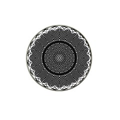 Black Lace Kaleidoscope On White Hat Clip Ball Marker (4 Pack)