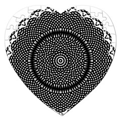 Black Lace Kaleidoscope On White Jigsaw Puzzle (heart)