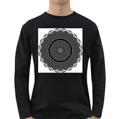 Black Lace Kaleidoscope On White Long Sleeve Dark T Shirts