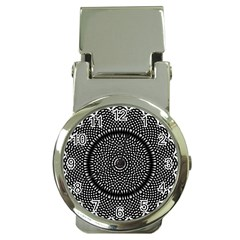 Black Lace Kaleidoscope On White Money Clip Watches