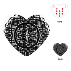 Black Lace Kaleidoscope On White Playing Cards (Heart)