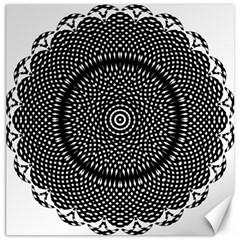 Black Lace Kaleidoscope On White Canvas 12  X 12