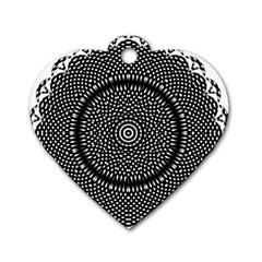 Black Lace Kaleidoscope On White Dog Tag Heart (One Side)