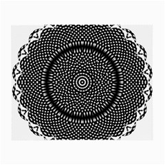 Black Lace Kaleidoscope On White Small Glasses Cloth (2-Side)