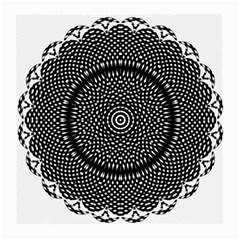 Black Lace Kaleidoscope On White Medium Glasses Cloth