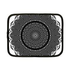 Black Lace Kaleidoscope On White Netbook Case (small)