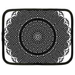 Black Lace Kaleidoscope On White Netbook Case (Large)